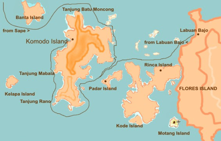 Map of Komodo and Flores island, Indonesia
