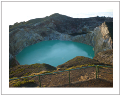 Mount Kelimutu three colour lake