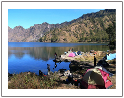 Lake of new mountain Rinjani. Rinjani trekking via Senaru