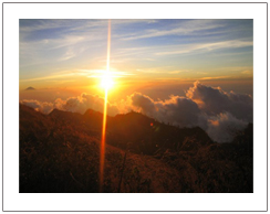 Trekking mount Rinjani Lombok island via Sembalun village, Sunset view